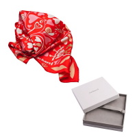 CACHAREL Fairy Garden red Foulard soie PLCFR127